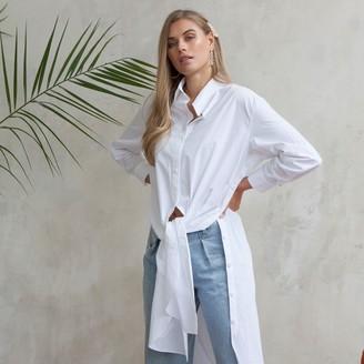 Jovonna London White Slub Tie-On Collared Shirt Dress - extra small