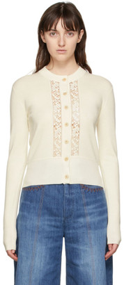Chloé Off-White Wool and Lace Cardigan