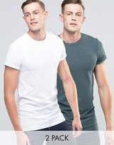 Asos 2 Pack Longline Muscle T-Shirt With Roll Sleeve In White/Green Marl