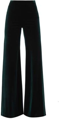 Galvan Winter High-rise Velvet Flared Trousers - Dark Green