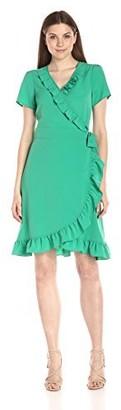 Lark & Ro Amazon Brand Women's Short Sleeve Wrap Ruffle Dress