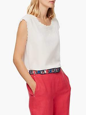 Brora Embroidered Silk Shell Top, Ivory