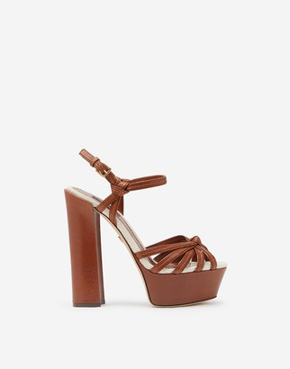 Dolce & Gabbana Wedge Sandals In Polished Cowhide And Canvas