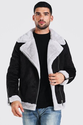 boohoo Mens Black Faux Fur Lined Suede Aviator, Black