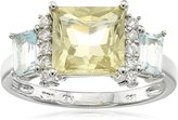 Amazon Collection Sterling Peridot, Blue-Topaz and Diamond Accent Classic Trinity Ring, Size 7