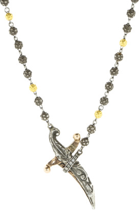 Sevan Biçakci Silver Rosary Bead and Dagger Necklace