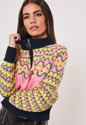 Missguided Pink Zip Front Cropped Christmas Jumper