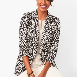 Talbots Long Linen-Blend Blazer - Leopard Print