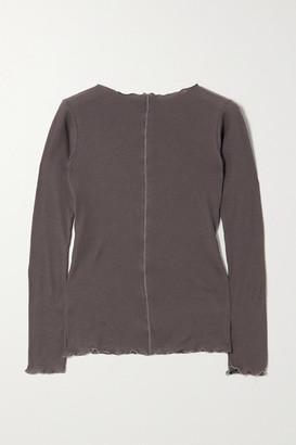 Base Range + Net Sustain Pama Ribbed Organic Cotton-jersey Top - Gray
