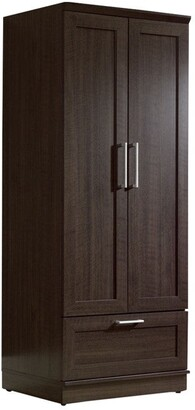 Overstock Dark Brown Wood Wardrobe Cabinet Armoire with Garment Rod