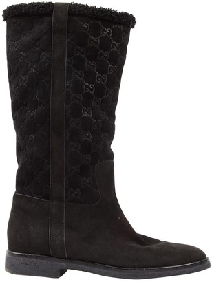 Gucci Black Suede Boots
