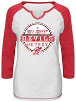 VF Licensed Sports Group Women's Raglan-Sleeve New Jersey Devils Change on the Fly T-Shirt