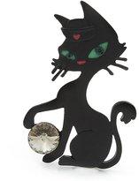 Avalaya Matte 'Kitty With Green Eyes' Brooch - 5.5cm Length