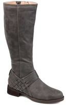 Brinley Co. Womens Extra Wide Calf Weave Detail Riding Boot
