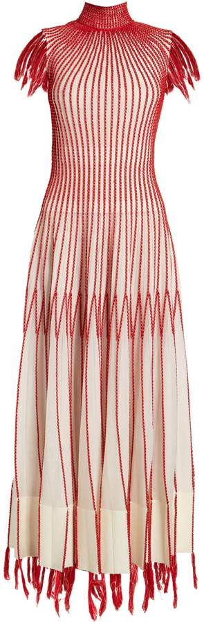 Alexander McQueen Contrast-stitching fringed-edge dress