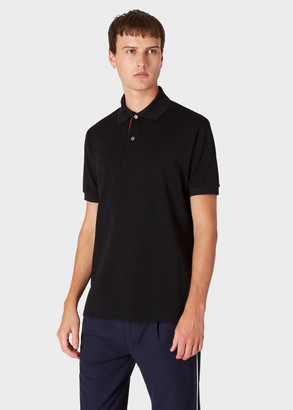 Paul Smith Men's Slim-Fit Black Cotton-Pique Polo Shirt With 'Artist Stripe' Placket
