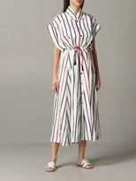 Manila Grace Striped Dress With Drawstring