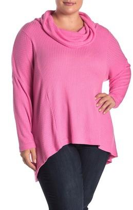 Catherine Malandrino Waffle Knit Cowl Neck Sweater (Plus Size)