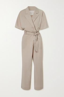 Envelope1976 - + Net Sustain Casablanca Wool-crepe Wrap Jumpsuit - Beige
