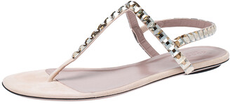 Gucci Beige/Pink Crystal Embellished Suede Mallory Thong Flats Size 39.5