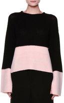 Marni Flyaway-Back Colorblock Cashmere Sweater, Black/Pink