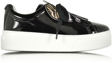 Kenzo Flower Black Pantent Leather Platform Sneaker