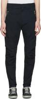 Balmain Navy Zip Cargo Trousers