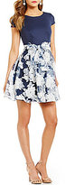 B. Darlin Cap-Sleeve Floral Burnout Skater Dress