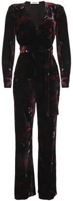 Diane von Furstenberg Addie Wrap-effect Floral-print Velvet Jumpsuit