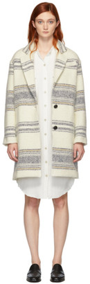 Etoile Isabel Marant Off-White Striped Wool Dante Coat