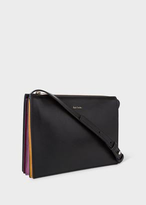 Women's Black Leather 'Concertina' Cross-Body Bag