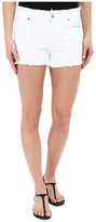 7 For All Mankind Raw Edge WB Cut Off Shorts with Destroy in White