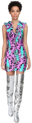Jeremy Scott Draped Monster Print Mini Dress