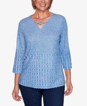 Alfred Dunner Women's Missy Hunter Mountain Beaded Textured Knit Top