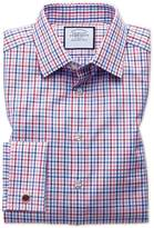 Charles Tyrwhitt Slim Fit Poplin Multi Red Check Cotton Dress Shirt French Cuff Size 14.5/33
