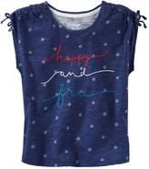 "Osh Kosh Girls 4-8 Happy and Free"" Embroidered Graphic Tee"