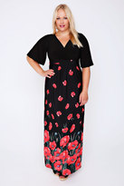 Yours Clothing Black & Red Poppy Print Wrap Front Maxi Dress