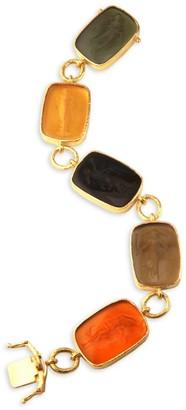 Elizabeth Locke Glass Intaglio Neutral Venetian Glass Intaglio 19K Gold `Muse Bracelet