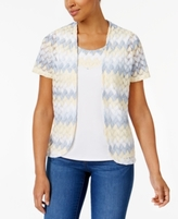 Alfred Dunner Petite Zigzag Layered-Look Top