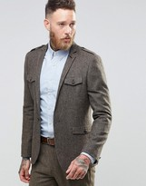 Asos Slim Suit Jacket In Brown Tweed With Military Styling