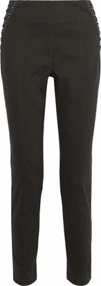 Mason by Michelle Mason Cropped Lace-up Stretch Cotton-twill Skinny Pants