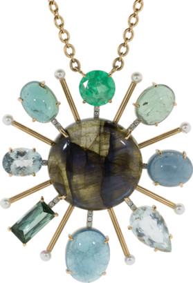 Irene Neuwirth Jewelry Tourmaline Labradorite And Emerald Pendant Necklace