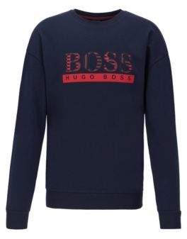 BOSS Loungewear sweatshirt in French terry with geometric-print logo