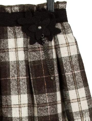 Il Gufo Girls' Plaid Wool Skirt