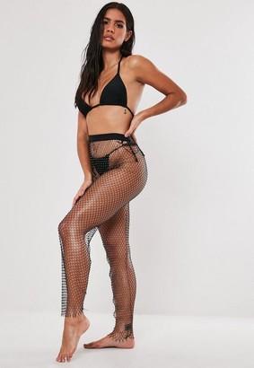 Missguided Premium Black Fishnet Jewelled Leggings