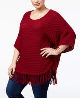 NY Collection Plus Size Fringe-Hem Poncho Sweater