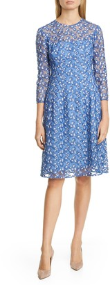 Lela Rose Holly Embroidered A-Line Mesh Dress