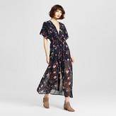 K by Kersh Women's Floral Dolman Sleeve Maxi Dress Navy