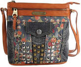 Nicole Lee Women's Rikky Floral Studded Denim Cross Body Bag
