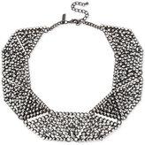 INC International Concepts Hematite-Tone Metallic Pavé Geometric Statement Necklace, Only at Macy's
